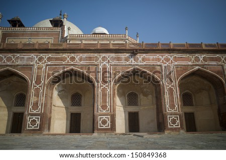 DELHI, INDIA - NOV 25: A sunny day in Humayuns Tomb on November 25, 2012 in Delhi, India. The tomb of second Mughal Emperor Humayun was declared a UNESCO World Heritage Site in 1993.