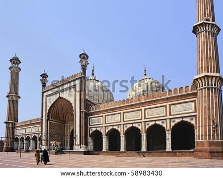 Delhi mosque - stock photo