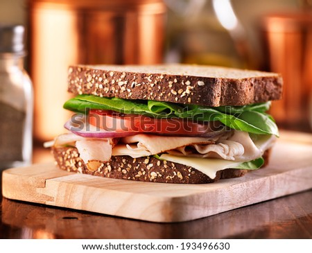 deli meat sandwich with turkey - stock photo