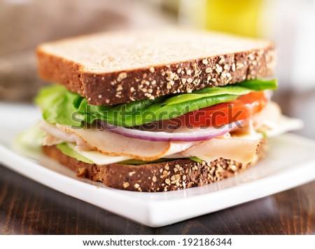 deli meat sandwich with turkey, tomato, onion, and lettuce - stock photo