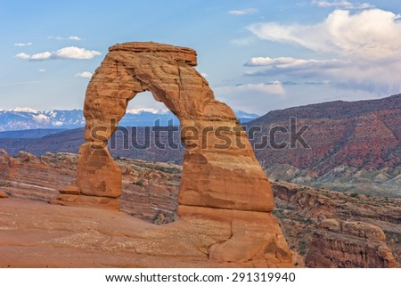 Delicate Arch At Sunset In Arches National Park In Utah - stock photo