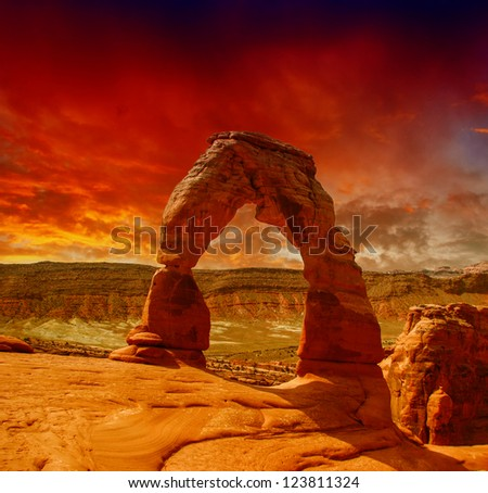 Delicate Arch in Arches National Park - Utah - stock photo