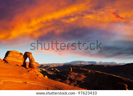 Delicate Arch in Arches National Park, Utah. - stock photo