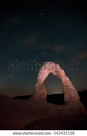 Delicate Arch in the Night - stock photo