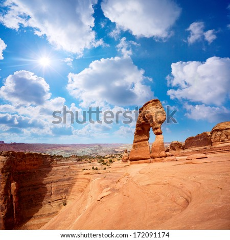 Delicate Arch landscape, Arches National Park, Utah, US - stock photo