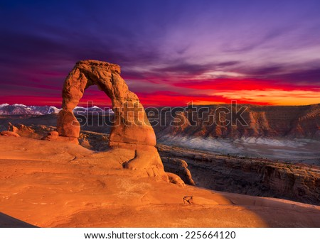 Delicate Arch, Late Afternoon View, Arches National Park, Utah - stock photo