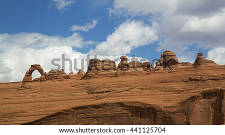 Delicate Arch panorama Arches National Park Moab Utah - stock photo