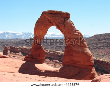 Delicate Arch with La Sal Mountains in the background