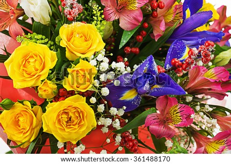Delicate beautiful bouquet of roses, iris, alstroemeria, nerine and other flowers. Closeup. - stock photo