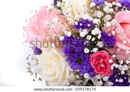 delicate bouquet of roses on a white background - stock photo