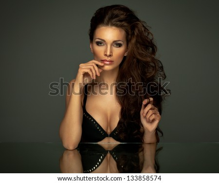 delicate brunette woman - stock photo