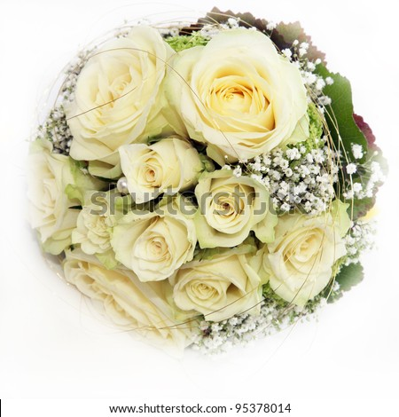 Delicate circular bridal bouquet of beautiful white roses on a white background - stock photo