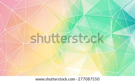 delicate color triangles web pattern. computer generated abstract geometrical background - stock photo