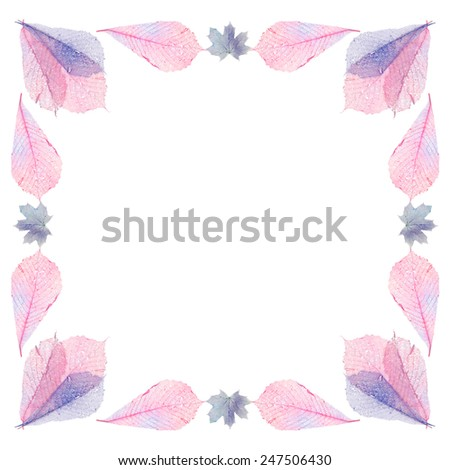 Delicate colored leaves shaped as frame with space for your text - stock photo