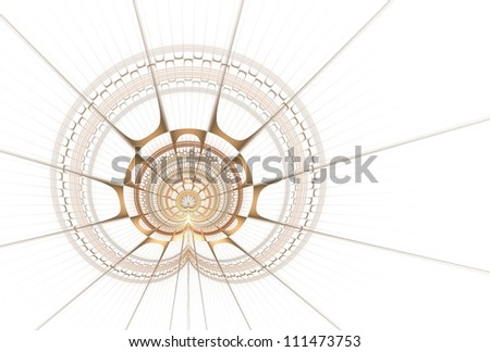 Delicate copper / gold spiky disc / curve design on white background