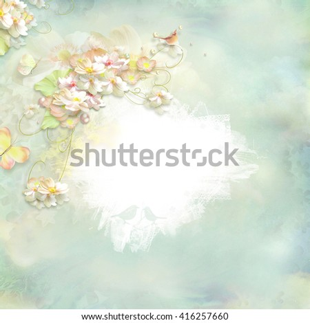 delicate floral frame with empty space for writing