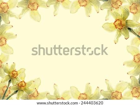 delicate flower frame card - stock photo
