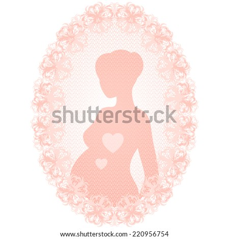 Delicate illustration of a pregnant woman in a floral frame - stock photo