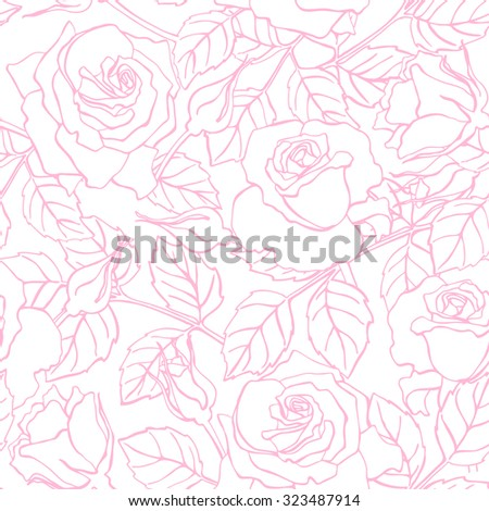 Delicate line rose pattern.  Great for wedding invitations, greeting, birthday and valentine cards and background - stock photo
