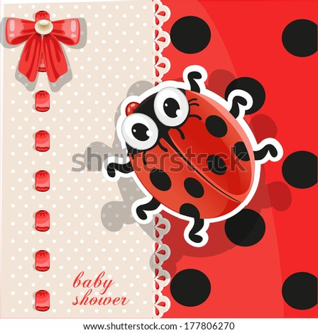 Delicate red baby shower card with cute cartoon ladybug. Raster version - stock photo