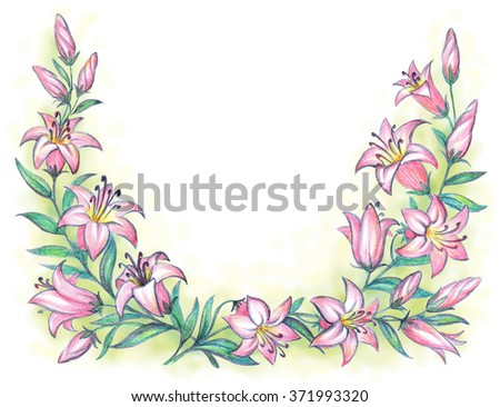 Delicate scented lilium on branch with green leaves isolated on white with clipping mask. Color freehand drawn backdrop sketch in art antique scribble style pastel crayon on paper with space for text - stock photo