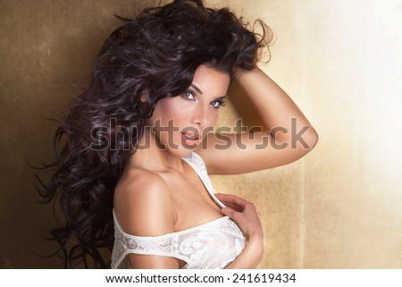 Delicate sexy brunette woman posing in lingerie, looking at camera. - stock photo