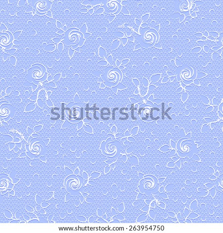 Delicate vintage floral seamless pattern with white rose ornament on a violet lace background - stock photo