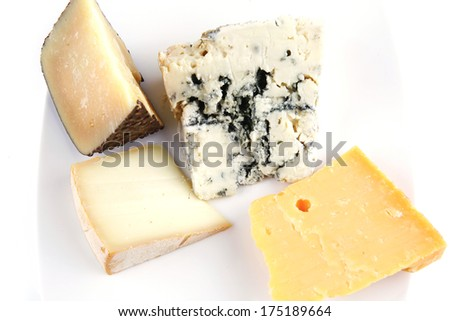 delicatessen cheeses on plate