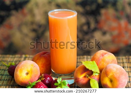 delicious and appetizing  beautiful  peach juice background