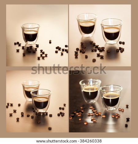 delicious and aromatic Espresso in transparent cups. a collage of four photos - stock photo