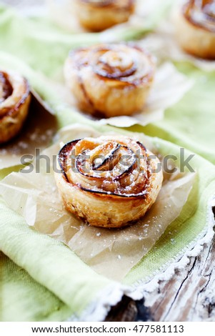 Delicious and beautiful apple rose puff pastries