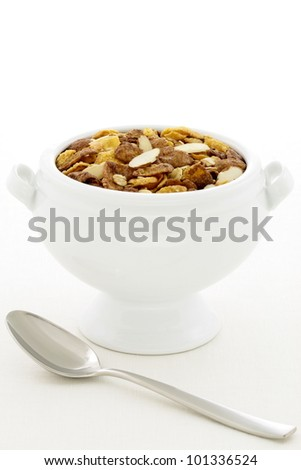 delicious and healthy chocolate muesli or granola, great nutritious food with lots of nuts and grains. - stock photo