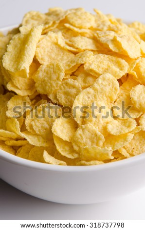 Delicious and healthy cornflakes for a tasty breakfast. - stock photo