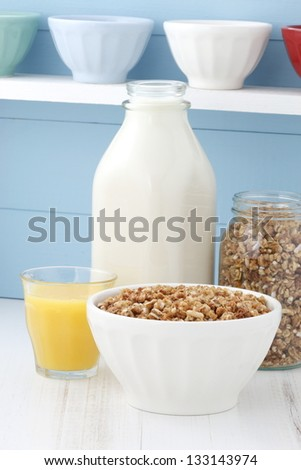 Delicious and healthy crunchy oats cereal - stock photo