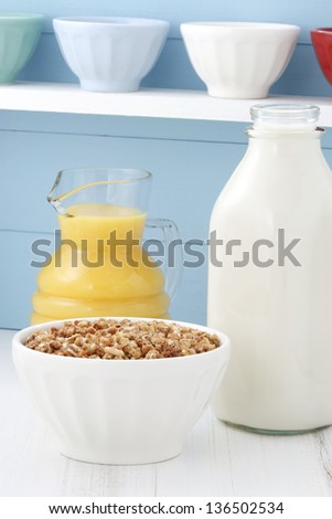 Delicious and healthy crunchy oats cereal, often eaten in combination with yogurt or milk. - stock photo