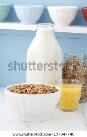 Delicious and healthy crunchy steel cut oats cereal. - stock photo