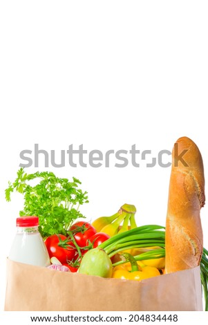 delicious and healthy food in a paper bag - stock photo