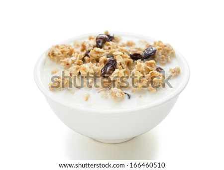 delicious and healthy wholegrain muesli with clipping path - stock photo