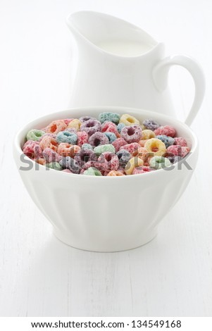 delicious and nutritious fruit cereal loops. - stock photo