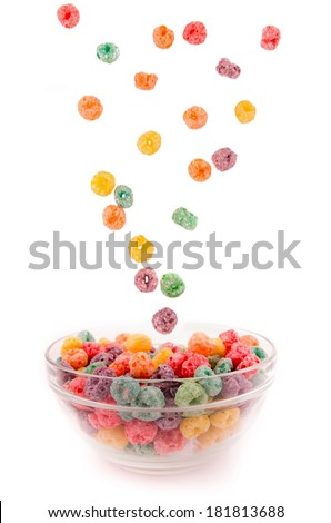 Delicious and nutritious fruit cereal loops - stock photo