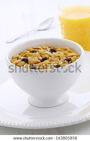 Delicious and nutritious lightly toasted breakfast muesli with dry cranberries.