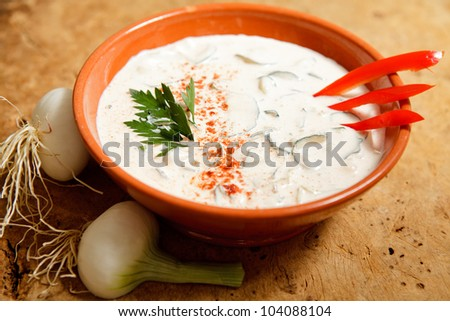 Delicious and refreshing cucumber dish with sour cream and onion. - stock photo