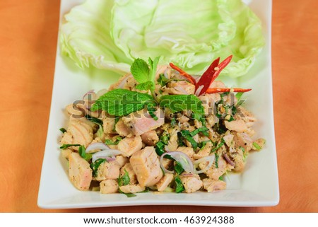 Delicious and Spicy Thai Salmon salad