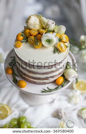 Delicious and tasty dessert table at wedding reception cream pie - stock photo