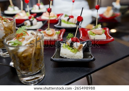 Delicious Appetizer and finger foods - stock photo