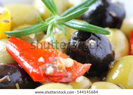Delicious appetizer salad of Olives de Provence - typical dish of south of France - stock photo