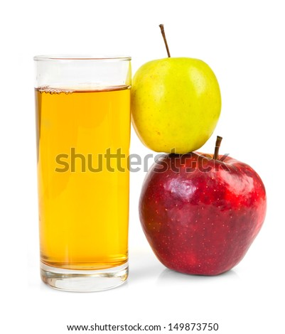 Delicious apple juice in glass and apples isolated on white