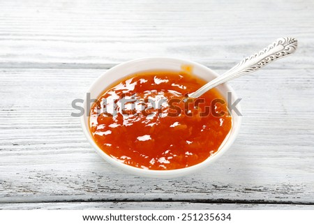 Delicious Apricot jam in a bowl, food - stock photo