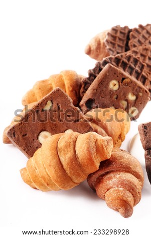 delicious assorted cookies and croissants for a holiday - stock photo