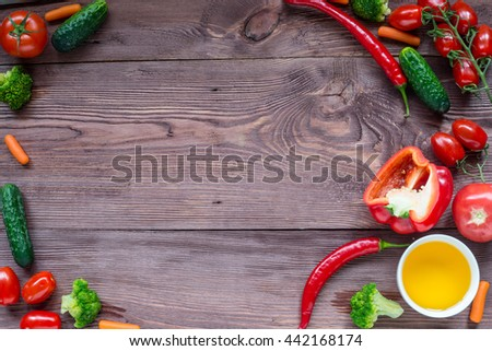 Delicious Assorted fresh vegetable, tomato, cucumber, pepper, carrot - healthy food, diet or cooking concept. - stock photo